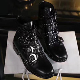 Wholesale Glitter Studs - high quality~ u750 40 black genuine leather stud flat short boots autumn
