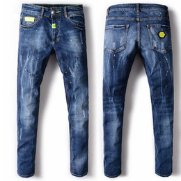 Wholesale Modern Skull - Yellow Metal Patches Demin Pants Blue Paint Distressed Straight Cut Vingate Jeans Skull Logo Cowboy Trousers