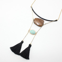 Wholesale Indian Wooden Pendants - Turqoise wooden tassel necklace wood Inlaid Turquoise Necklace Jewelry faceted black snake chain line semi precious stone pendant