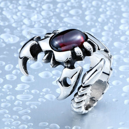 Wholesale Mix Match Rings - Personality all-match trendsetter scorpion ring wholesale titanium Jeweled ring spot opening Scorpio man
