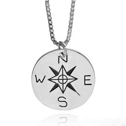 Wholesale North South - Box chain necklace not all who wander are lost Compass necklaces Star Traveler Necklace Find Your True North And South Direction Necklace