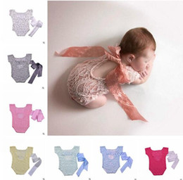 Wholesale Holiday Outfit Girls - Newborn Baby Girl Lace Bow Back Romper Jumpsuit Photography Prop Outfit Lace Romper Boutique Clothing Newborn Photography Props 738