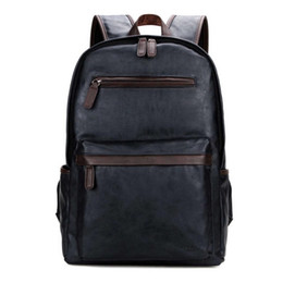 Wholesale Bag Men High Capacity - Fashion Bag Leather Mens Laptop Backpack Casual Daypacks For College High Capacity Trendy School Backpack Men Travel Bag