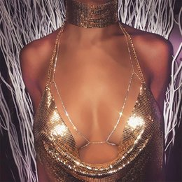 Wholesale Heart Belly - Sexy Rhinestone Bra Body Necklace Chain Bikini Beach Crossover Harness Waist Belly Body Chain Jewelry Gold Silver