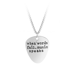 Wholesale High Quality Figaro Chain - High Quality Letter Pendant Choker When Words Fail Music Speaks Silver Necklace Guitar Pick collier femme jewelry collier anime