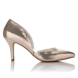 Wholesale Silver Low Heeled Pumps - Fashion Metallic Gold & Silver Pointy Shoe Women Wedding evening shoes High Heel Bridal Shoes Party Prom Women bridal shoes Size42