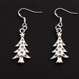 Wholesale Light Christmas - Star Light Christmas Tree Earrings 925 Silver Fish Ear Hook 40pairs lot Antique Silver Dangle Chandelier Jewelry E748 14.4x44mm