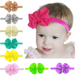Wholesale toddler headbands big flowers - Girls Big Bow Flower Headbands Baby Hair Accessories Infant Toddler Chiffon Bow Knot Elastic Hairbands Childrens Classic Headwear 15 Colors