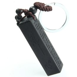 Wholesale Chinese Trinkets - Chinese Traditional Wood Products Seal Ebony Wood Square Column Buddhist Scriptures Car Key Ring Pendant Keychain Trinket