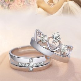 Wholesale Couple Ring Wholesale - New Lovers Rings 30% Silver White Gold Open Size Zircon Love Forever Crown Couple Rings For Engagement Gifts 20 Designs Mix