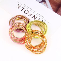 Wholesale Candy Jewelry For Kids - New fashion 6 Pieces Sets Multicolor Kids Bracelets Cute Candy Colors Stretchy Bangle fashion Jewelry For Girls Child Daughter Gift