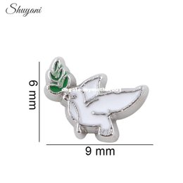 Wholesale Live Doves - 20pcs lot Newest Fashion DIY Charms Zinc Alloy Bird of Peace Dove Floating Locket Charms for Living Memory Locket