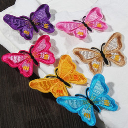 Wholesale Colorful Embroidered Wedding Dresses - Colorful Butterfly 5x6.6cm Applique Badge Patches Embroidered Iron on Sticker Patch For Clothing Jacket Wedding Dress DIY Sewing Accessories