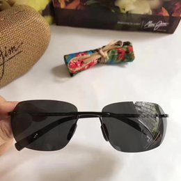 Wholesale Gloss Wrap - Cool Men mauijim 743 Black Sunglasses Gloss Black Sports Sunglasses Brand Sunglasses Eyewear New with Box