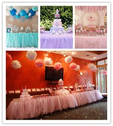 Wholesale Ruffled Table Cloth - 1*0.8m And Custom Made Ruched Table Cloth Ruffles For Wedding Party Event DIY Chiffon Tutu Table Decorations Wedding Decoration