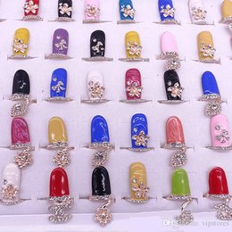 Wholesale Diamond Nail Ring Jewelry - Cute 50pcs Crystal Finger Rings CZ Diamond Bowknot Nail Art Finger Ring Fashion Rhinestone Flower Crown Fingernail Rings Jewelry for Women