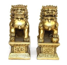 Wholesale Brass Dog Statue - Chinese brass copper statue Foo Dogs Lions pair