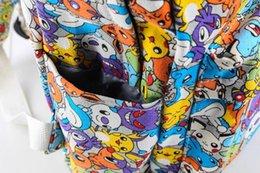 Wholesale Eevee Backpack - 9styles New Poke mon Canvas Backpacks Pocket Monster School bag Charmander Bulbasaur Eevee Pikachu print Students bags