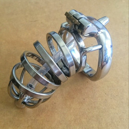 Wholesale Male Urethral Bondage Sex Toy - Male Chastity Cock Cage Sex Penis Lock Anti-Erection Device With Removable Urethral Sounding Catheter Sex Toys Bondage Chastity device