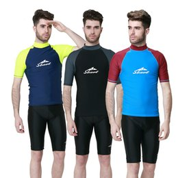 Wholesale Surf Clothes Shirt - Short Sleeves Men Diving Suits T Shirts Tops Wetsuits Rash Guards Surfing Sailing Snorkelling Clothes