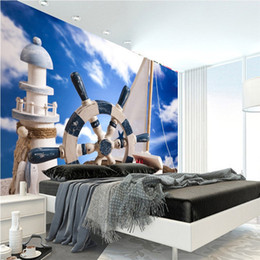 Wholesale Sailing Boat Murals - 3D lighthouse sailing boat Mediterranean style mural background wall living room bedroom wallpaper hotel ktv bag Mediterranean wood boat hel