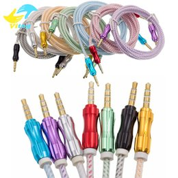 Wholesale Extension Cables - Luxury 3.5mm 1M 1.5M 3FT Braided AUX Audio Cable Cucurbit Auxiliary Cable Male To Male Stereo Car Extension Audio Cable For MP3 Car Phone