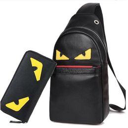 Wholesale Mens Crossbody Bags - New Set Bag Eye Style Small Monster Leather Men Chest Pack Bag Men Casual Practical Bag Mens Fashion Shoulder Crossbody Bags