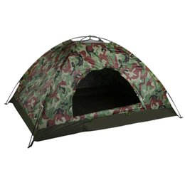Wholesale tent person layer - Wholesale- Outdoor Portable Single Layer Camping Tent Wigwam Camouflage 2 Person Waterproof Lightweight Beach Fishing Hunting Drop Shipping