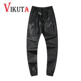 Wholesale Leather Mens Pants - Wholesale-2016 mens PU leather casual pants men Faux Leather sweatpants hip hop leather pants Black red trousers for men VC2780