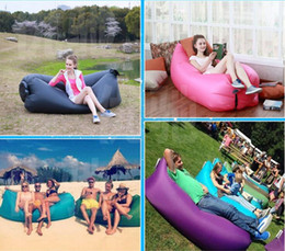 Wholesale Red Purple Bedding - Fast Inflatable Lounger Air Sleeping Bag Lazy Sofa Bed Camping Hangout Lazy Portable Beach Lay Sack Air Bean Bag Couch Sleeping Chair B2031