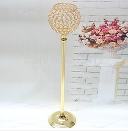 Wholesale Round Metal Match - 65cm Gold finish K9 crystal wedding candle holder, 15cm diameter round ball, event or party candle stand