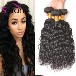 Wholesale Indian 32 Inch Wavy Weave - Hot Sale Natural Wave Peruvian Malaysian Brazilian Wet And Wavy Human Hair 3pcs lot 7A Mink Brazilian Hair Brazilian Water Wave Hair