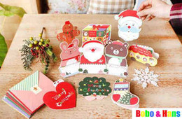 Wholesale Christmas Envelope Stickers - Wholesale- New Cute cartoon style Christmas envelope + card + Sticker Set   box packaging   Wholesale