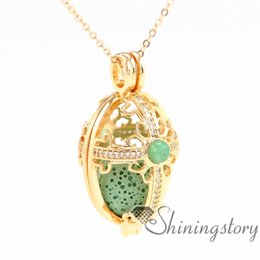 Wholesale Oval Brass Lockets - oval openwork heart locket necklace oil necklace large gold locket diffuser pendant wholesale zircon metal volcanic stone necklaces