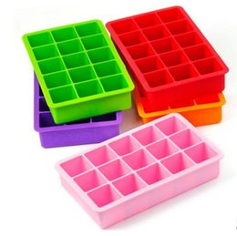 Wholesale Baking Fruit Cakes - Silicone Square Ice Cube Tray Maker Mold Mould Making Candy Chocolate Baking Cake Fruit Pudding for Cocktail Cola Bar Pub Party 15 Unit LLFA