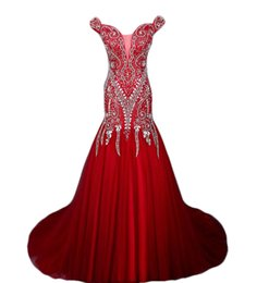 Wholesale Janique Prom - 2017 new Charming Janique Formal Mermaid Evening Dresses Illusion Long Sleeve High Neckline Lace Beads Women Prom Dress Party Gown