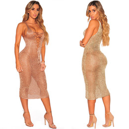 Wholesale Strapless Rose Dress - Rose Gold Metallic Knit Lace Up Cover Up Dress