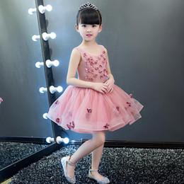 Bola violeta on-line-Elegante flor menina vestido de baile de renda violeta vestido de noiva apliques festa tule princesa vestido de aniversário sem mangas primeira comunhão vestido