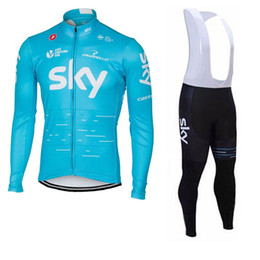 Wholesale Sky Long Sleeve Cycling Jersey - 2017 SKY Spring Autumn Team Cycling Jersey Bib Set Long Sleeves Ropa Ciclismo Bicycle Clothing MTB Bike Wear with 9D Gel Pad