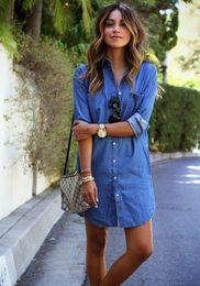 Wholesale T Shirt Denim Women - Autumn new fashion women denim dress casual loose long sleeved T shirt dresses plus size free shipping