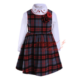Wholesale Kids Blouse Embroidery - Pettigirl New England Style Girl Clothing Set Long Sleeve Blouse Grid Dress With Grid Embroidery Collar Kids Daily Wear G-DMCS908-970