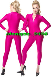 Catsuit in lycra con zip online-Hot Pink Lycra Spandex Tuta Catsuit Costumi Sexy Front Zip Body Suit Unisex Costumi Cosplay Unisex Outfit Halloween Cosplay Suit M086