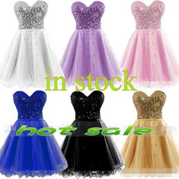 Wholesale Kind Sexy - 2017 Cheap short cocktail Dresses all kinds of color Sequins strapless Sweetheart tulle Cocktail Party Prom homcoming Gowns