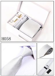 Wholesale Burgundy Gift Box - 2017 Neck Tie Set Pure Color Ties Novelty Groom Necktie With Handkerchief Sleeve Button Tie Bar And Gift Box Big Tail 8 CM