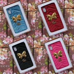 Wholesale Butterfly Case Metal - Luxury brand Velvet metal butterfly phone shell case for iphone X 7 7plus 8 8plus hard back cover for iphone 6 6S 6plus