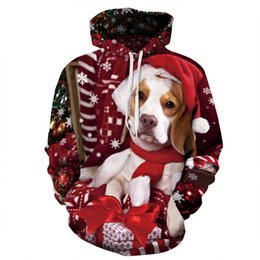 Wholesale doggie style - New Christmas series new hot style snowflake 3 d doggie printing hoodies fashion polyester hoodies for man and women
