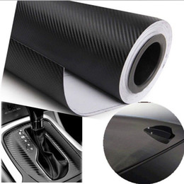 Wholesale Carbon Fiber Vehicle - Wholesale- 10x127cm Carbon Fiber Vinyl Film Car Stickers Waterproof Car Styling Wrap For Auto Vehicle Detailing Car accessories Motorcycle