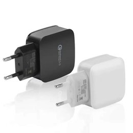 Wholesale Universal Travel Plugs - Top Qualtiy QC 3.0 US EU Adaptive Fast Charging Home Travel Wall Charger Plug cable usb cable For Samsung Galaxy