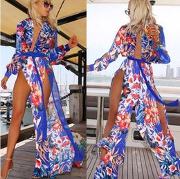 Wholesale S Plus Flower Cover - 2017 Summer Women Swimwear Cover Ups Fashion flower printing Long sleeves Chiffon Plus Size Long Dress Beach Bikini blouse