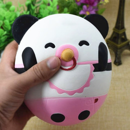 Wholesale Panda Baby Toys - 30pcs DHL Super cute baby panda Jumbo Squishy Slow Rising Pendant Phone Straps Charms Queeze Kid Toys Cute squishies Bread